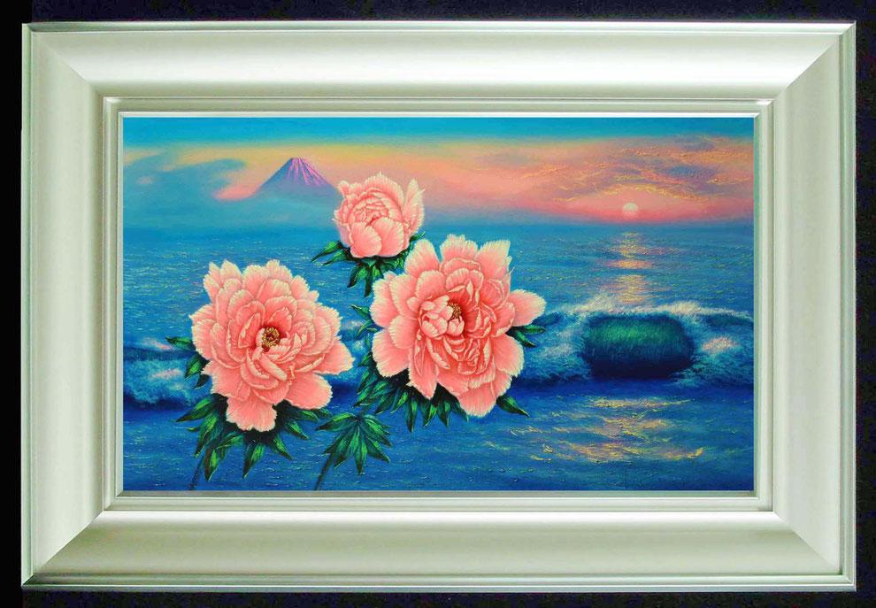 2  .   江ノ島、富士山と 冬牡丹