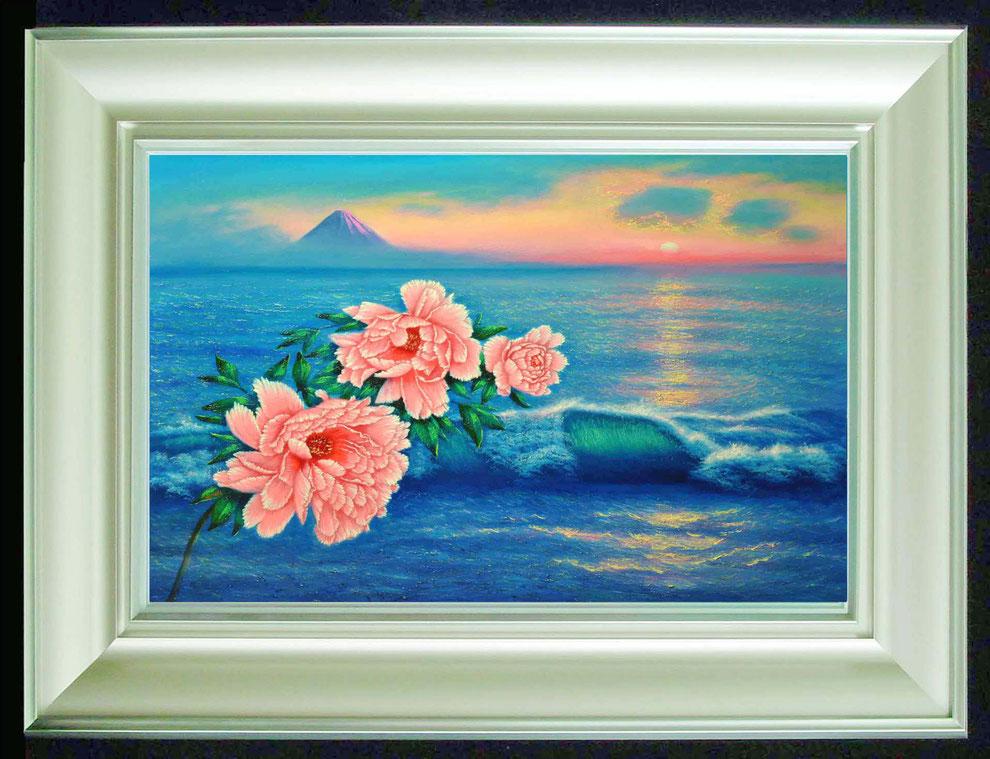 8  .   江ノ島、富士山と 冬牡丹