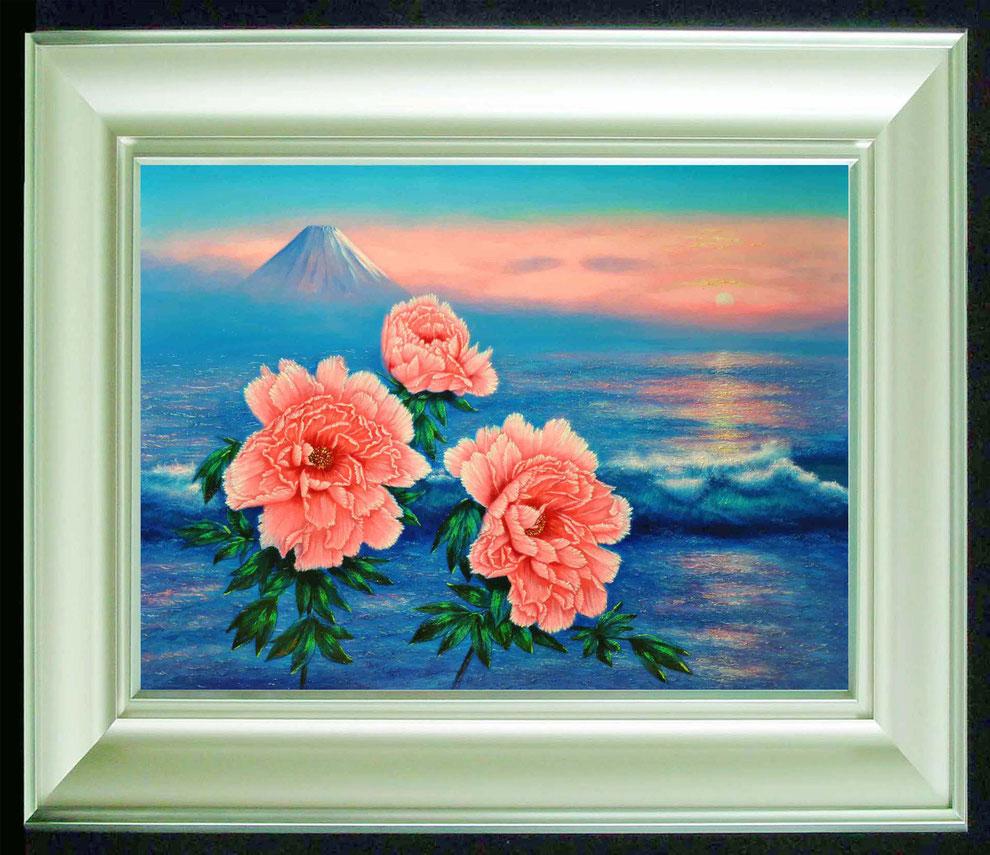 11  .   江ノ島、富士山と 冬牡丹