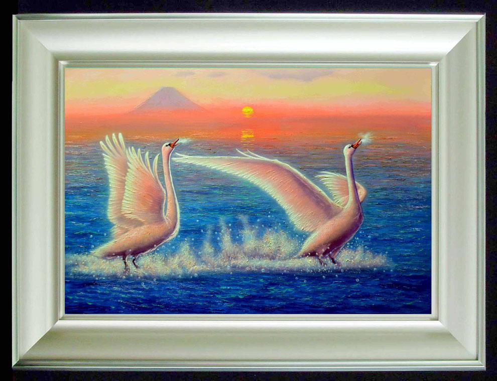 15.    夕焼けの江の島の白鳥  SIZE  910mmx727mm - 30 号 特      PRICE ¥ 15. 000. 000