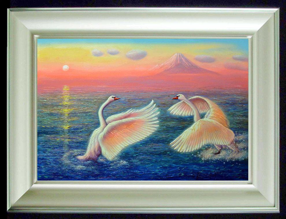 11.    夕焼けの江の島の白鳥  SIZE  910mmx727mm - 30 号 特      PRICE ¥ 15. 000. 000