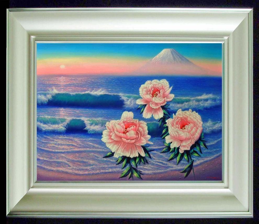 12  .   江ノ島、富士山と 冬牡丹