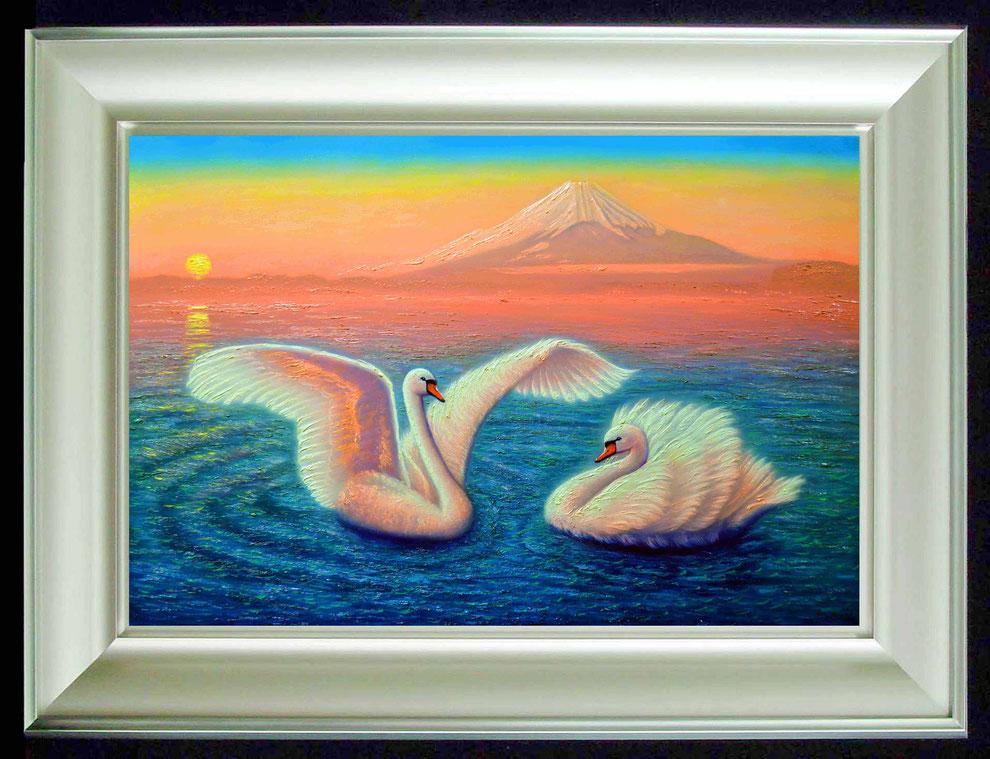 9.    夕焼けの江の島の白鳥  SIZE  910mmx727mm - 30 号 特      PRICE ¥ 15. 000. 000