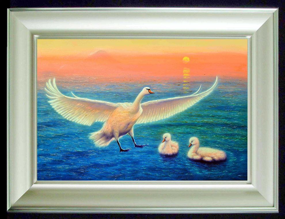 8.    夕焼けの江の島の白鳥  SIZE  910mmx727mm - 30 号 特      PRICE ¥ 15. 000. 000