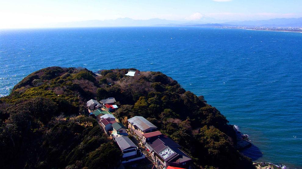 世界の自然遺産   日本  神奈川  三浦半島 鎌倉 江ノ島 富士山 冬の風景