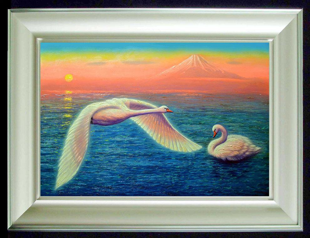 7.    夕焼けの江の島の白鳥  SIZE  910mmx727mm - 30 号 特      PRICE ¥ 15. 000. 000