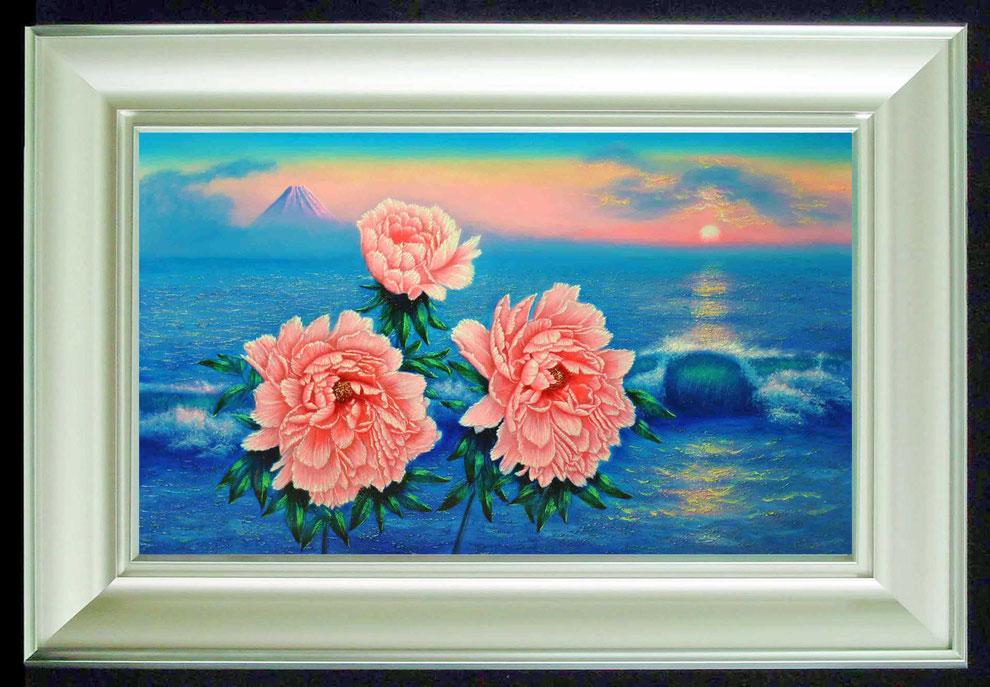 3  .   江ノ島、富士山と 冬牡丹