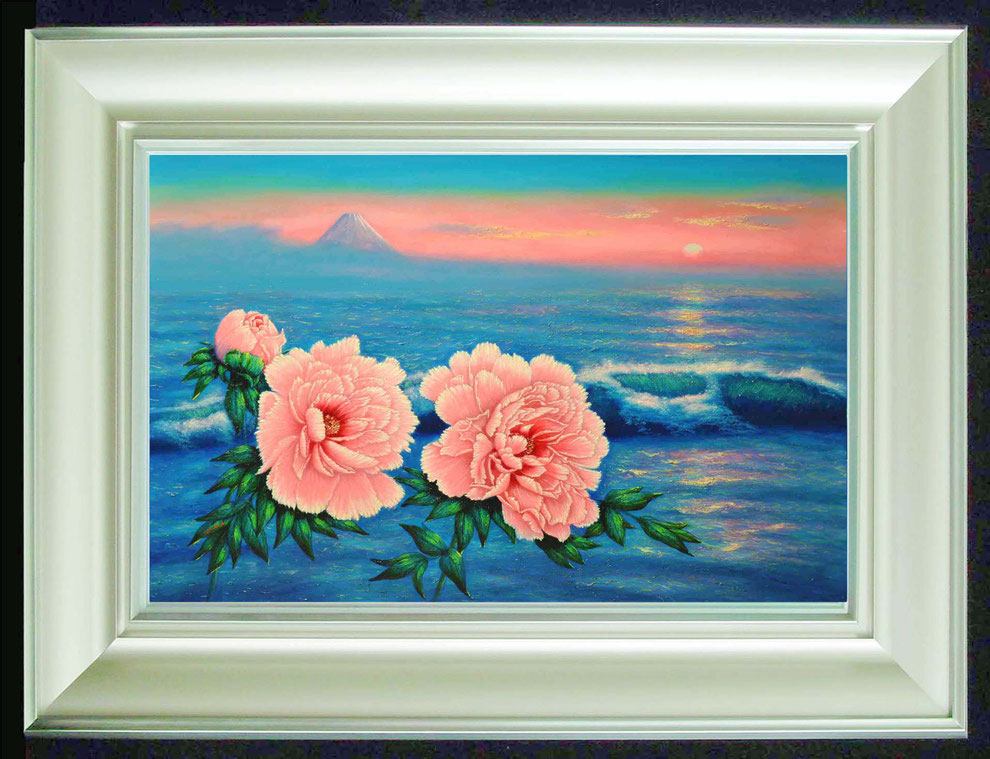 9  .   江ノ島、富士山と 冬牡丹