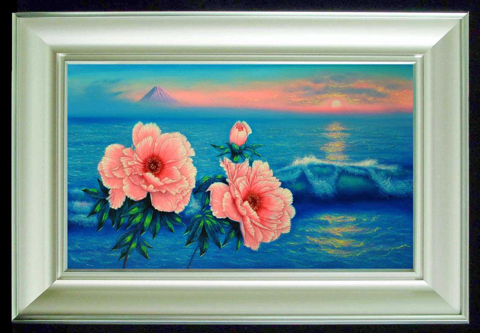 江ノ島、富士山と 冬牡丹
