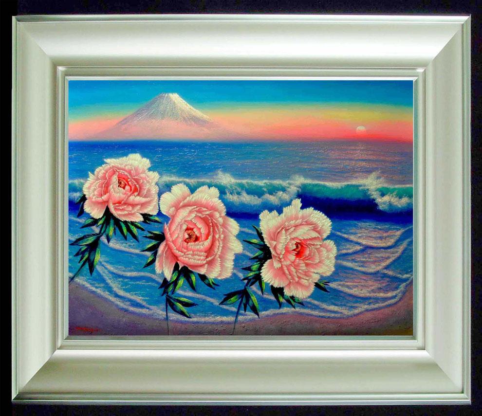 14  .   江ノ島、富士山と 冬牡丹