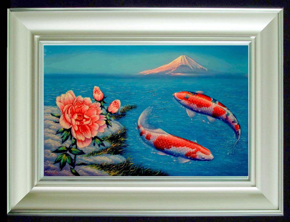 9.   鎌倉の 冬牡丹と 白鳥   SIZE  910mmx727mm - 30 号 特      PRICE ¥ 15. 000. 000