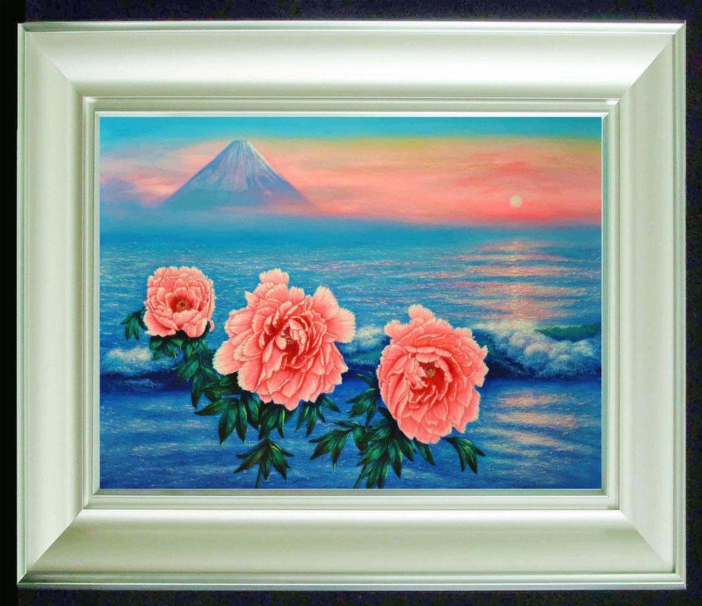 10  .   江ノ島、富士山と 冬牡丹