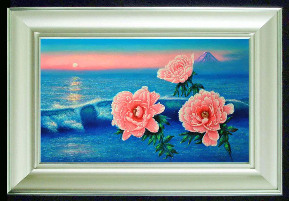 1  .   江ノ島、富士山と 冬牡丹