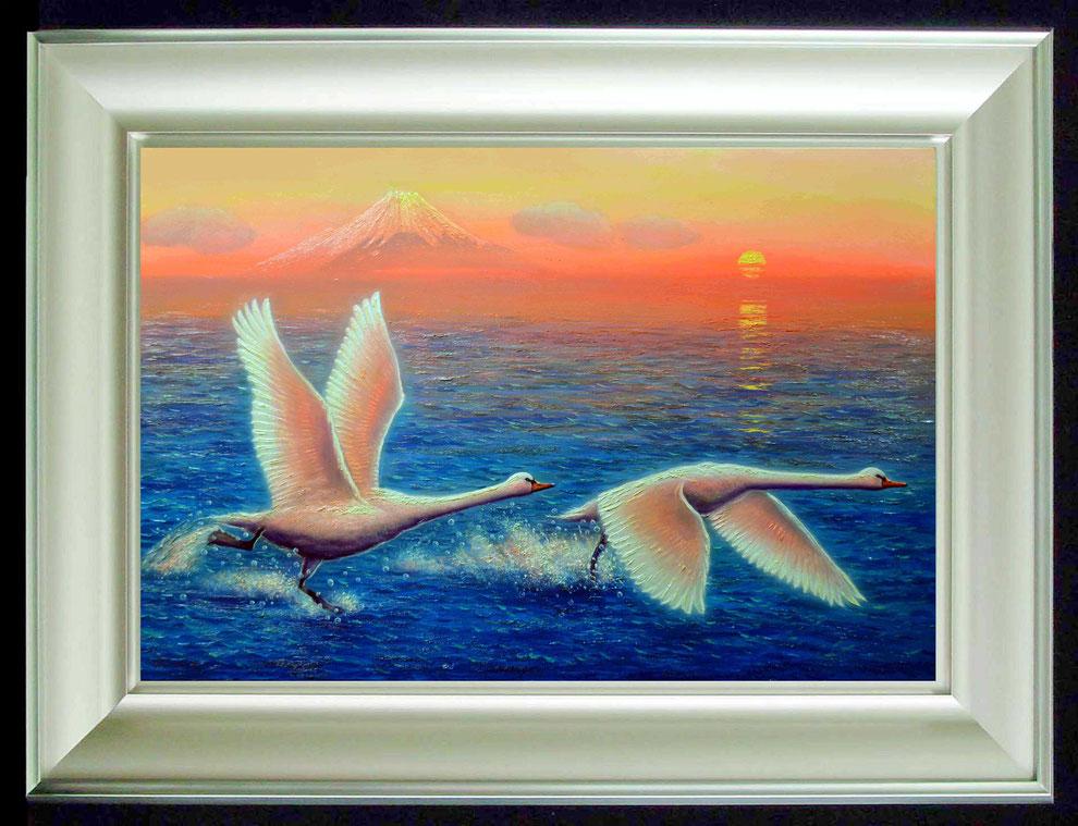 10.    夕焼けの江の島の白鳥  SIZE  910mmx727mm - 30 号 特      PRICE ¥ 15. 000. 000