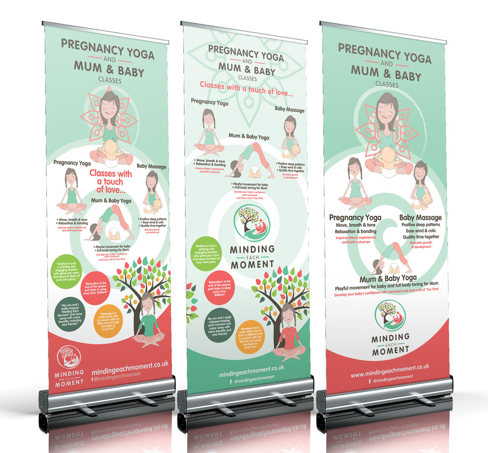 Three branded pull up banner designs,  created for Minding Each Moment - Design By Pie, Graphic Designer, North Devon