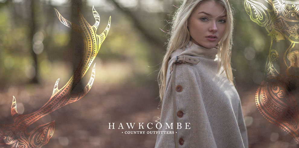 Website graphics created for Hawcombe Country Outfitters with blonde model in woods and stag logo detail, Design By Pie, Graphic Designer, North Devon