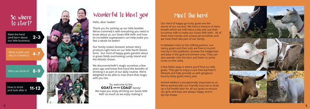 Double page spread for Goats on the Coast brochure, Design By Pie, Graphic Designer, North Devon