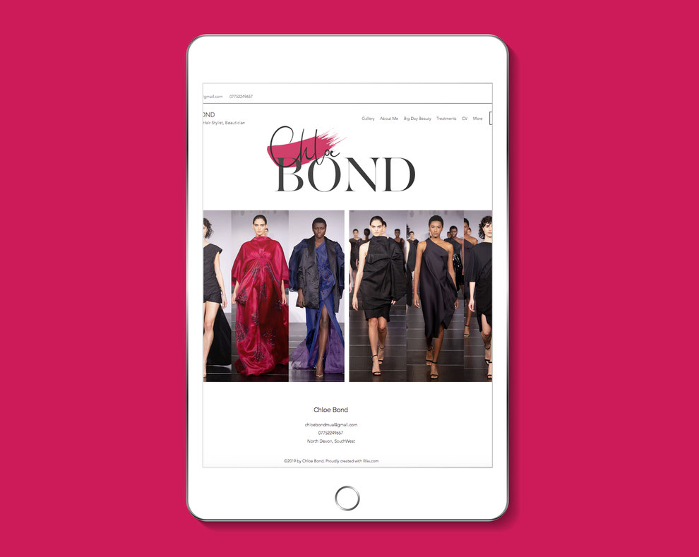 Chloe Bond Logo showcased on an ipad/phone view of website, Design By Pie, Logo Designer, North Devon
