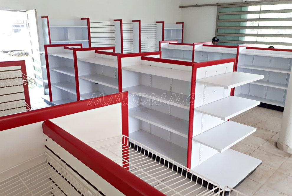 Góndolas de melamina, góndolas de madera, góndolas para tiendas, góndolas para supermercado, góndolas para minisuper