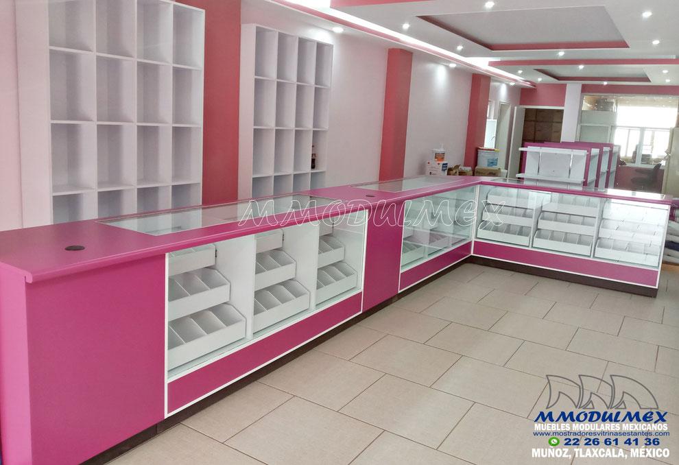 Muebles para papelería, mostrador para papelería, vitrinas para farmacia.