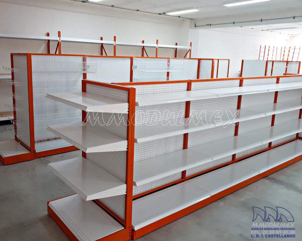 Góndolas metálicas para supermercados, estantería metálica, anaqueles metálicos, entrepaños metálicos