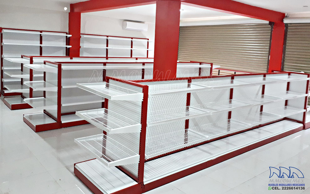 Gondolas metalicas para supermercado, góndolas para abarrotes, estantería para miniuper