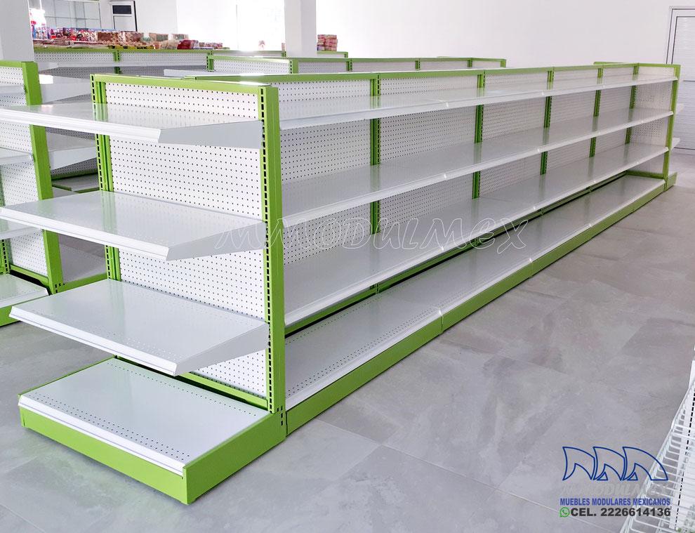 Góndola metálica, muebles para tiendas, Entrepaños metálicos