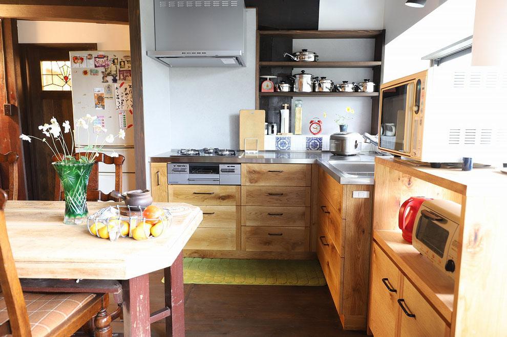 古民家キッチンリフォーム L型キッチン