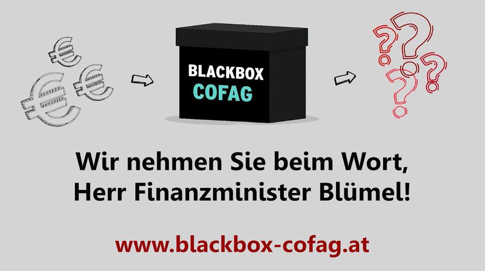 Wir nehmen Finanzminister Blümel beim Wort und übermitteln ihm die Anliegen der UnternehmerInnen: www.blackbox-cofag.at