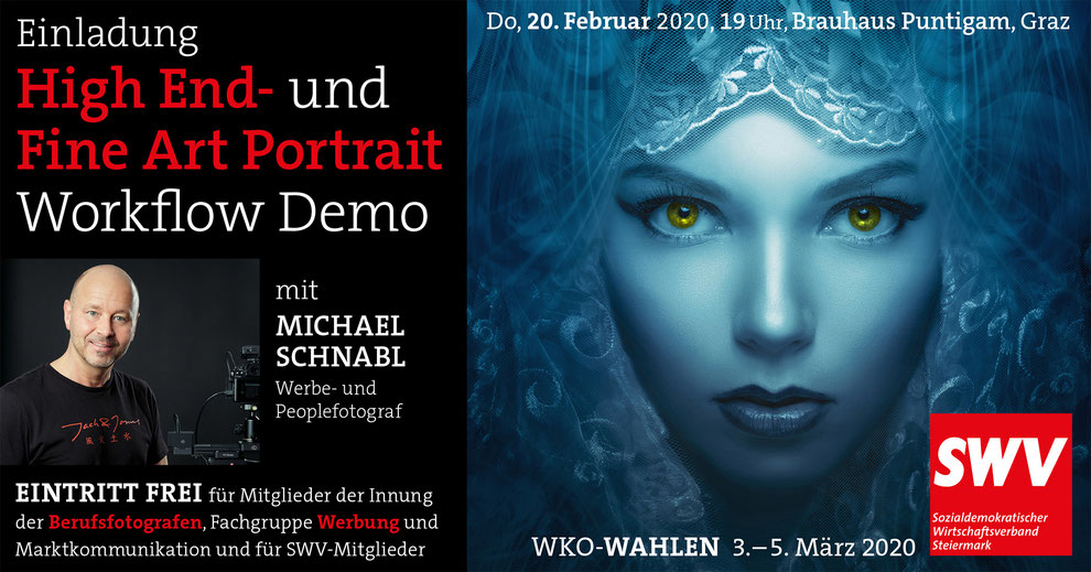 High End- und Fine Art Portrait Workflow Demo mit Michael Schnabl, Do, 20. Februar 2020, 19Uhr, Brauhaus Puntigam, Graz