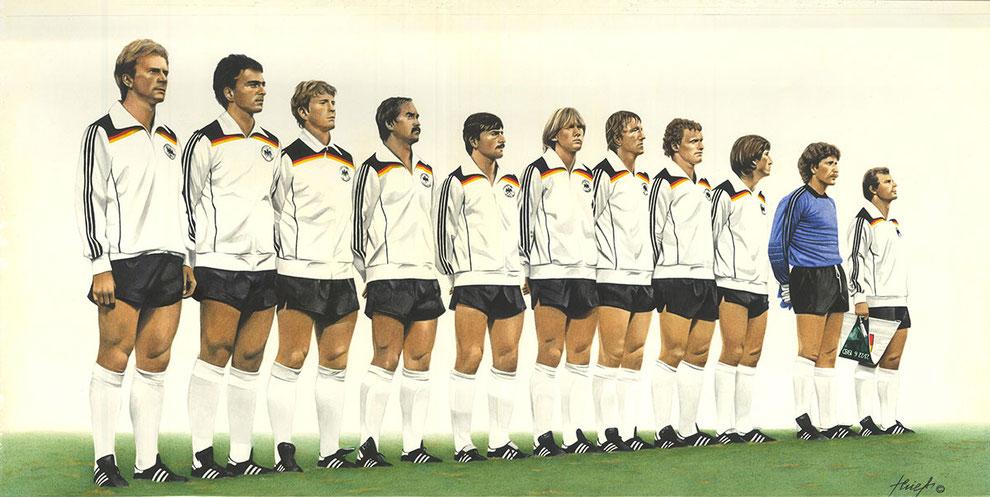 Europameister 1980, Aquarel, gerahmt, original signiert von allen Spielern