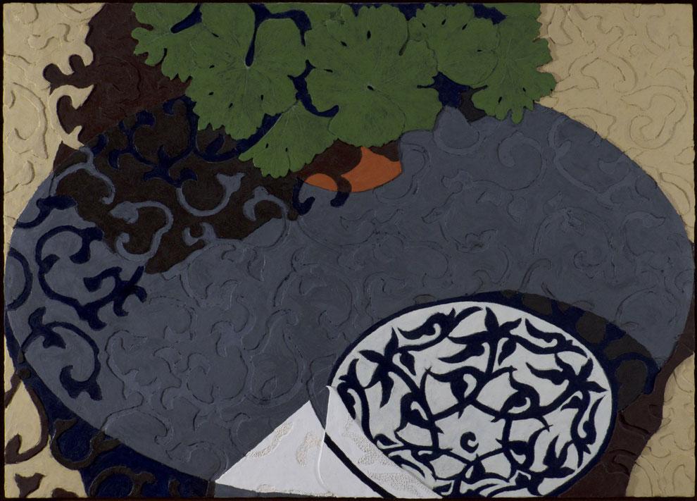 francois beaudry encaustique peinture tableau bas-relief nature morte sanguinaires feuilles motif assiette série table bleue