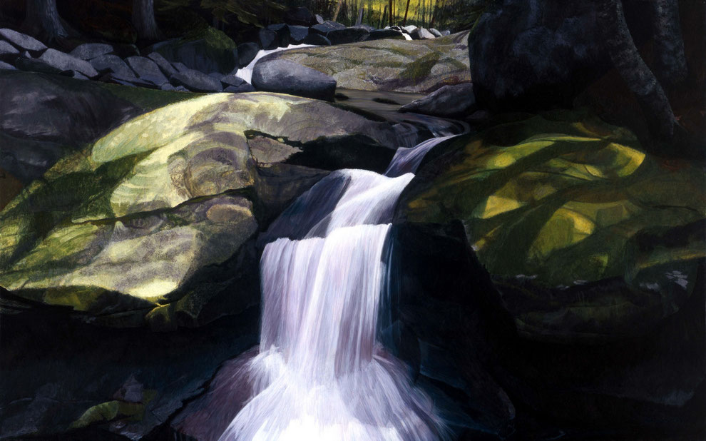 francois beaudry egg tempera painting landscape cascade rocks moss via appalachia series 3