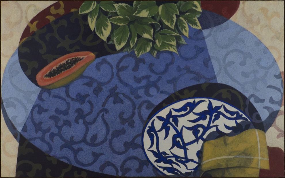 francois beaudry egg tempera painting still life variegated leaves papaya plate table napkin blue table series 2