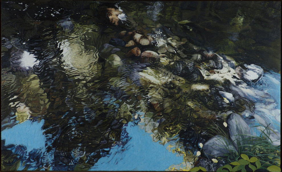 francois beaudry encaustic painting landscape bas-relief water reflection leaves via appalachia series