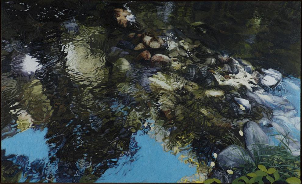 francois beaudry encaustique peinture tableau bas-relief paysage réflexions automnales série via appalachia 17
