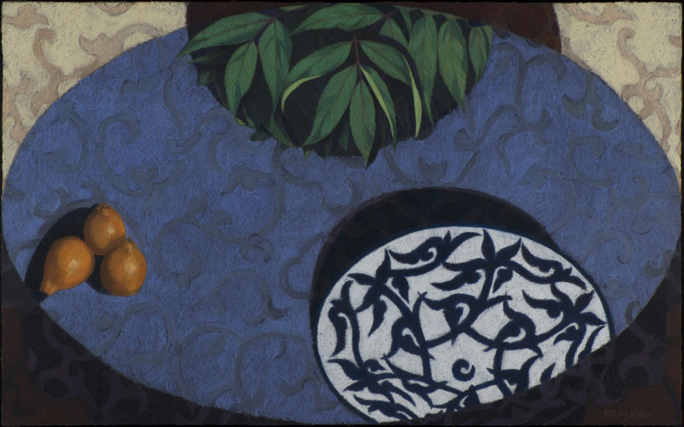 francois beaudry pastel and watercolor painting still life leaves plate fruit table motif blue table series 1