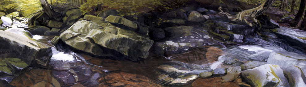 francois beaudry egg tempera painting landscape cascade rocks trees via appalachia series 9