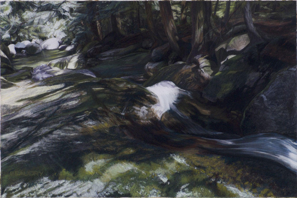 francois beaudry pastel and watercolor painting landscape cascade rocks trees via appalachia series