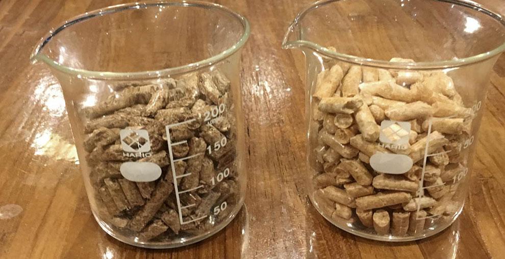 木質ペレット燃料(左:恩賜林ペレット/右:富士山ホワイトペレット)