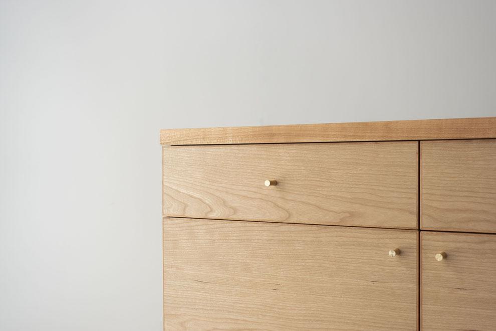 仙台 秋保 オーダー家具 家具 収納 サクラ  キャビネット 真鍮