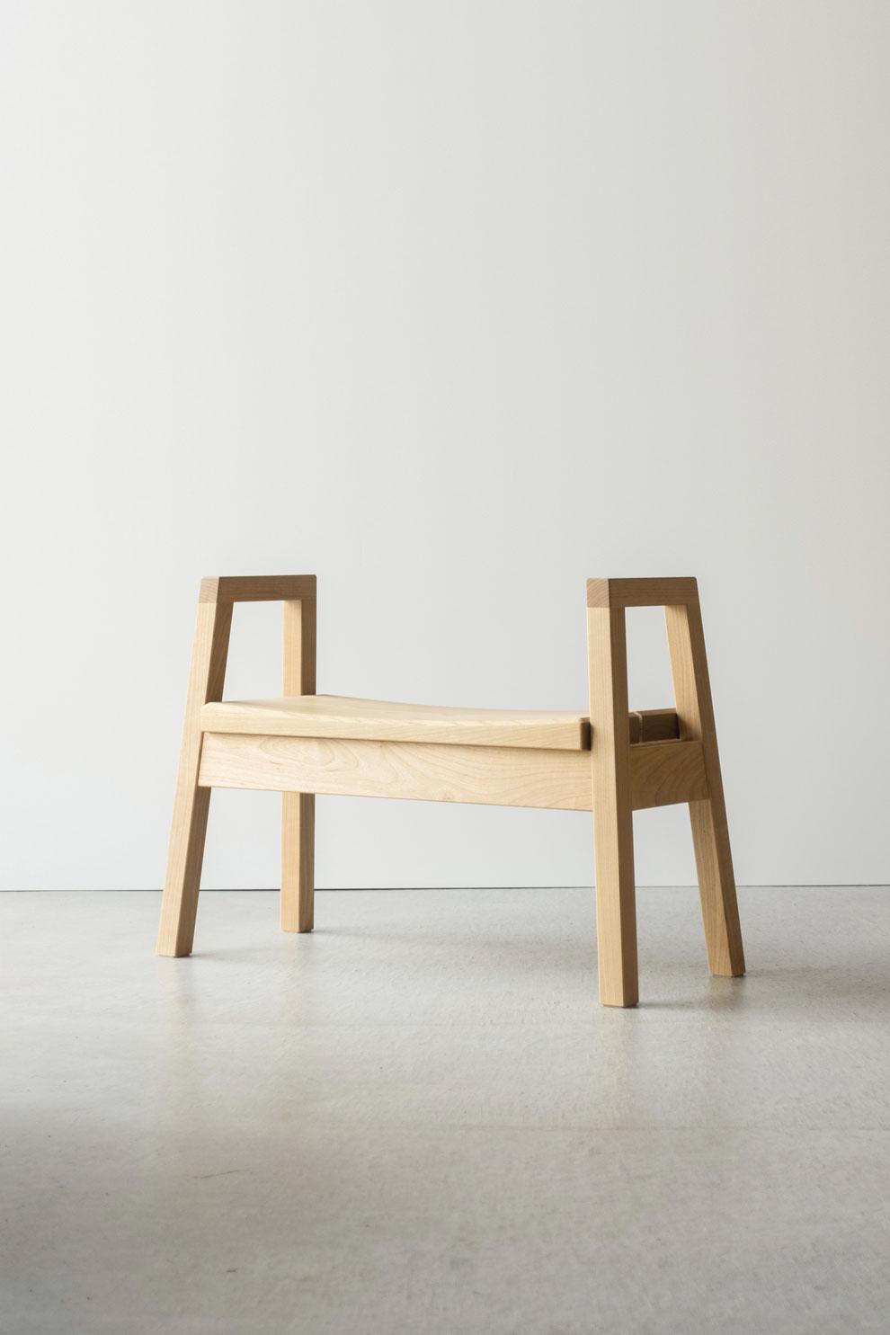 仙台 秋保 秋保温泉 クラスコファニチャー オーダー家具 無垢材 玄関スツール