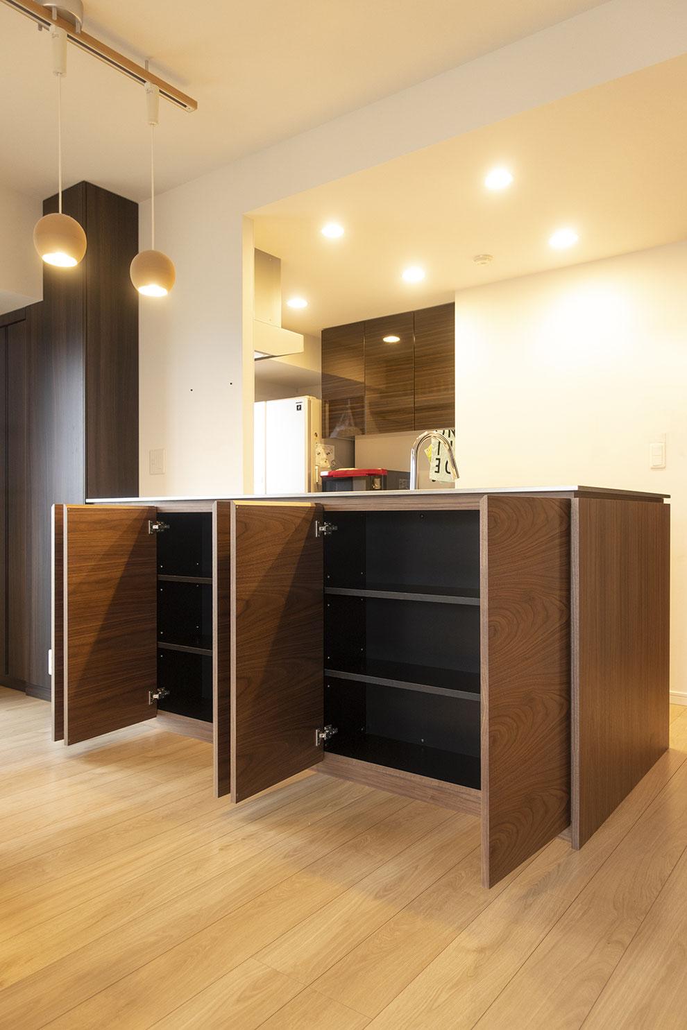 仙台 秋保 オーダー家具 クラスコファニチャー キッチンカウンター ステンレス天板 ウォールナット