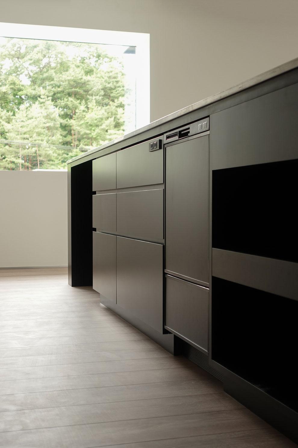 オーダーメイドキッチン ステンレス天板 オーダー家具 秋保 食洗機