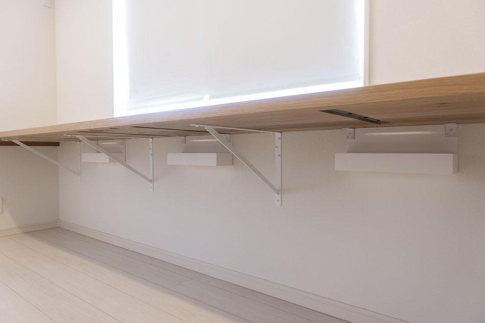仙台 秋保 秋保温泉 オーダー家具 デスク 無垢材 ナラ 無垢天板 造り付け家具