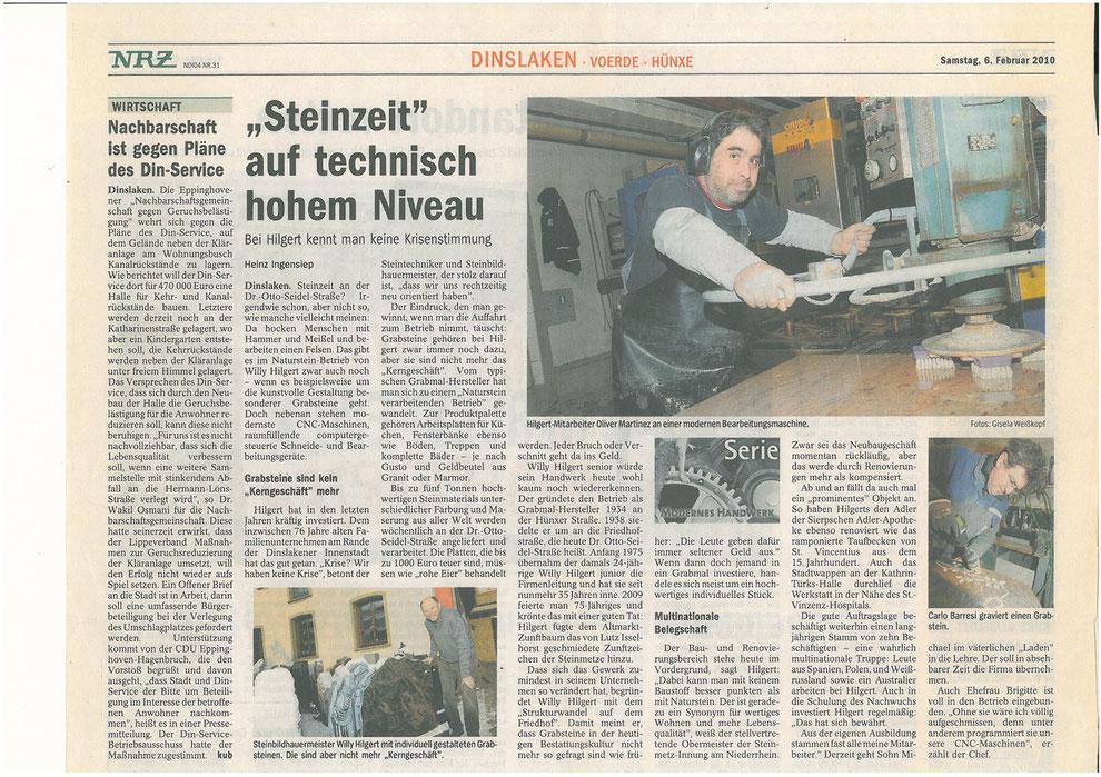 Zeitungsbericht über HILGERT  NATURSTEIN