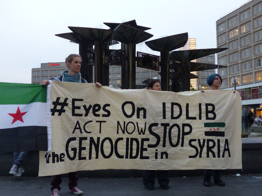 Demonstration auf dem Alexanderplatz / Berlin am 10.09.2018 gegen den Krieg in Syrien - Foto: Jens-Martin Rode