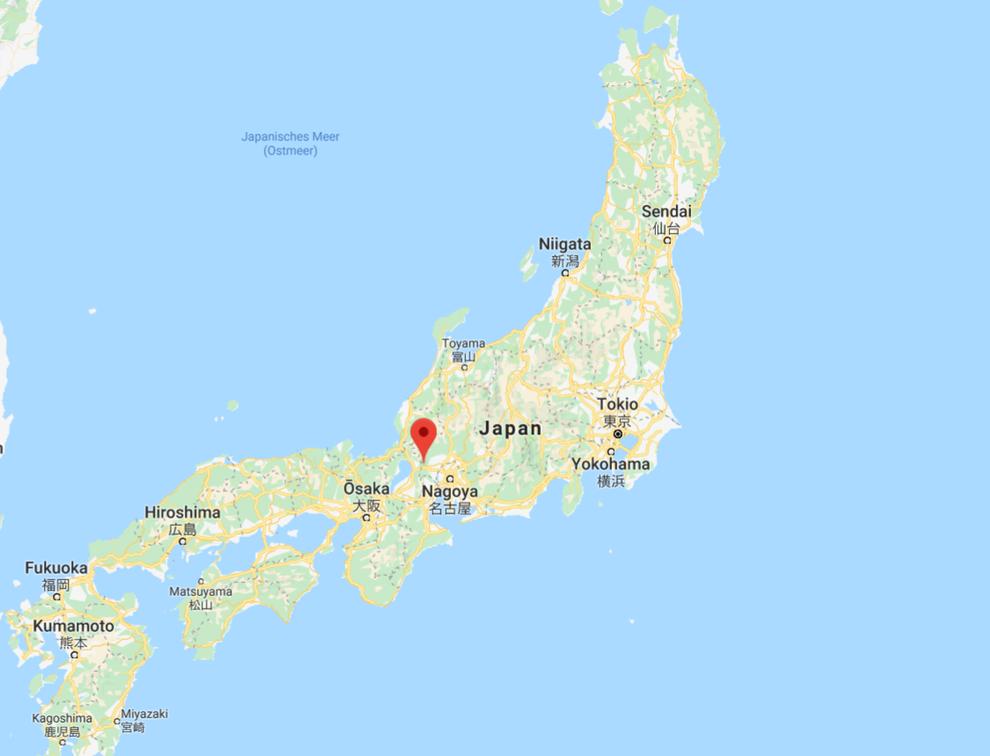 Geografische Lage der Schlacht von Sekigahara auf der Hauptinsel Honshu