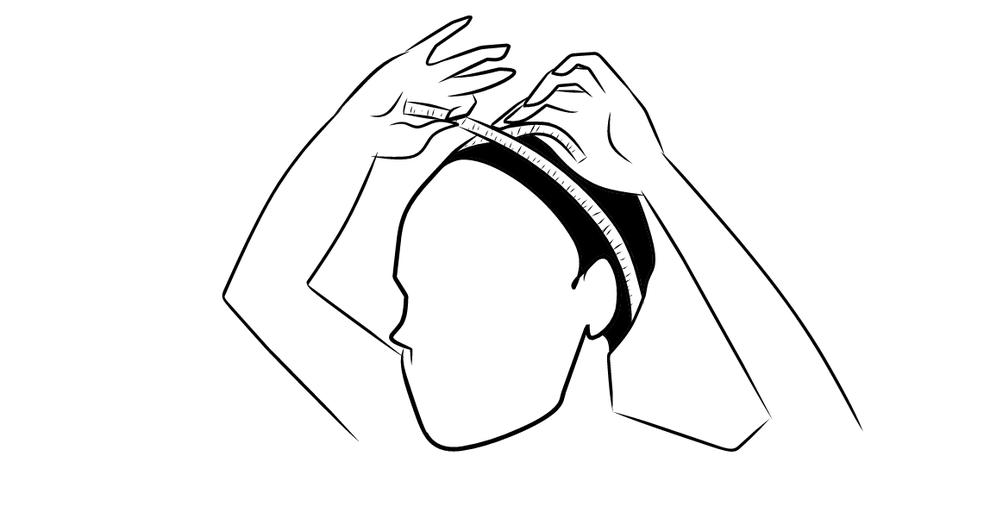 mesure du tour de tête avec un ruban