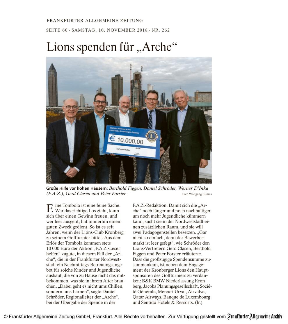 """FAZ Artikel Lions spenden für """"Arche"""" - Lions Kronberg"""